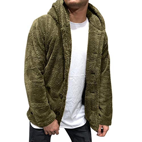 Mensera Herren Teddyjacke Winter Kapuzenjacke Warm Teddy-Fleece Jacke Mantel Flauschige Hoodie Sweatshirt Kapuzenpullover Winterjacke mit Knöpfe
