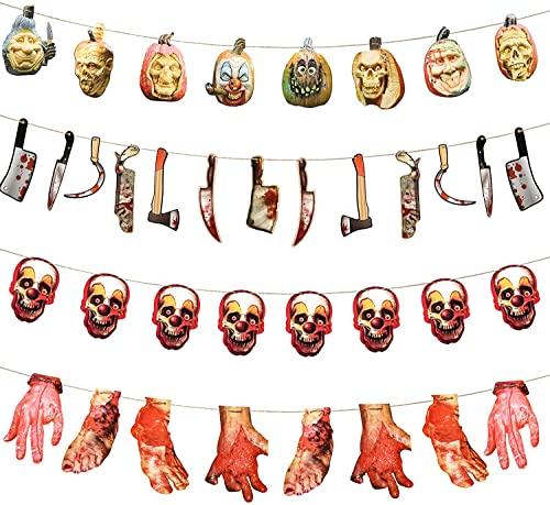 Halloween Deko Horror,Banner Deko halloween Deko,Grusel deko Halloween Dekoration Blutige Werkzeuge und Hand Fuß Girlande Deko Set,Halloween Deko Garten Party-8 Körperteile + 13Werkzeuge+16 Totenköpfe