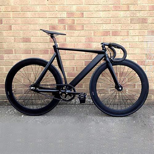 Pakopjxnx Vélo Pignon Fixe Vélo Urbain sur Piste en Alliage D'aluminium Cadre Commute 70mm Rim Road Cycle Vélo Accessoires, Noir, 53cm (175cm-180cm)