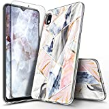 NageBee Case for Samsung Galaxy A10E with Tempered Glass Screen Protector, Ultra Slim Thin Glossy Stylish Protective Bumper Cover Phone Case (Not Fit Samsung Galaxy A10) -Rose Gold Marble