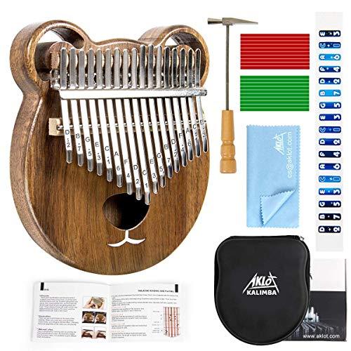 Kalimba Daumenklavier-Set aus Massivholz mit 17 Tasten, afrikanisches Instrument mit Schutzhülle, Tuning Hammer Studium, Booklet, Reinigungstuch von AKLOT Bear Kalimba braun