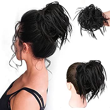 HMD Messy Bun Hair Piece Hair With Elastic Rubber Band Extensions Hairpiece Synthetic Hair Extensions Scrunchies Hairpiece for Women  Tousled Updo Bun Natural Black .