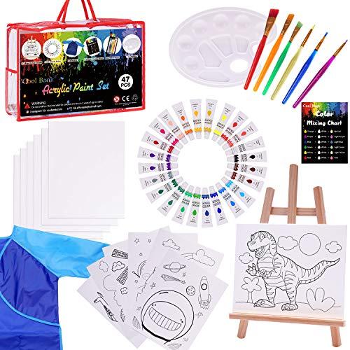 Paint Set For Kids,47 Piece Kids Art Set Paint Easel Includes 24 Non Toxic Paints,Table Top Easel,Art Smock,6 Paint Brushes,12 Pcs 8x10 Canvas,Paint Palette,Art Supplies for Kids (Travel Bag Included)
