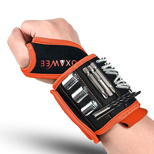 Magnetic Wristband, GOXAWEE 20pcs Strong Magnets Orange Tool Belt for Holding Screws, Drill Bits…