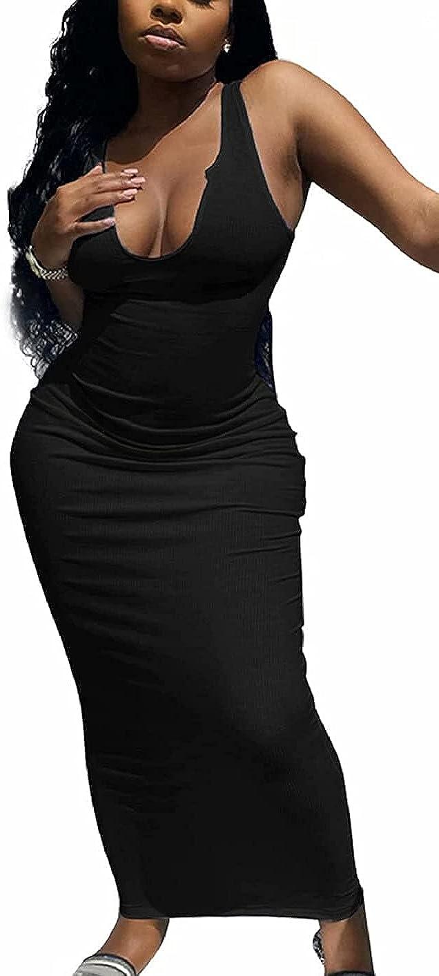 Sexy V Neck Ribbed Tank Maxi Bodycon Dress Women Sleeveless Summer Beach Clubwear Party Long Dresses