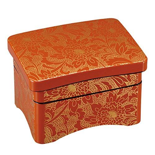 福井クラフト(Fukui Craft) 重箱 赤 17.8x13.5x11.5 うなぎ の 器 うな重 殿様丼重 柿朱菊詰内朱 2段 5-740-7