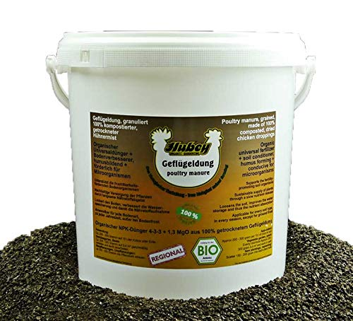 hubey - Fertilizante orgánico para Aves de Corral - 6 kg de Cubo - para el Cuidado de Pollos - Mezcla de Aves de Corral - Fertilizante orgánico Natural - Abono Universal