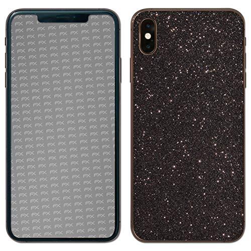 atFolix Skin kompatibel mit Apple iPhone XS Max Back Cover, Designfolie Sticker (FX-Glitter-Black-Sky), Reflektierende Glitzerfolie