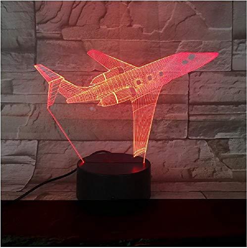 Luces 3D Led Acrílico Remoto 7 Luces de modelo de avión de colores Interruptor táctil Luz de noche Led Usb