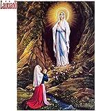 LVGUMM - Kit de pintura por números para adultos y niños, para hacer bricolaje, set de regalo para decoración de casa, cueva de la Virgen María 40 x 50 cm (16 x 20 pulgadas)