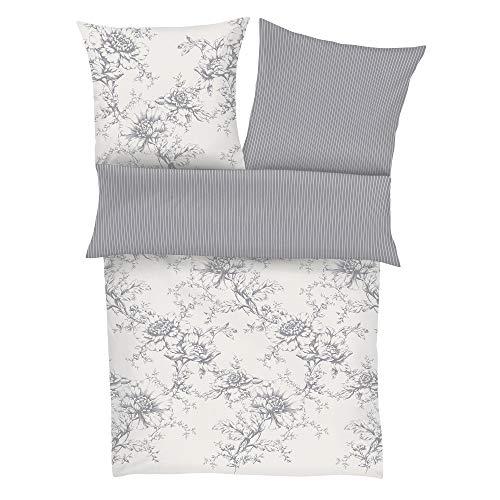 Zeitgeist Cholet Bettwäsche 155x220 cm - Satinbettwäsche hellgrau weiß, 100% Baumwolle, 2 teilig mit Reißverschluss