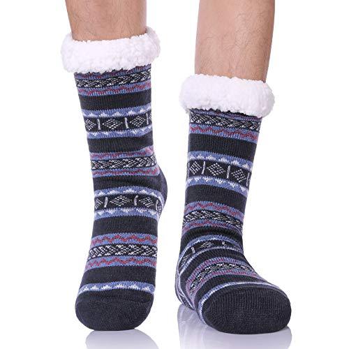CHOWISH Men's Slipper Socks Winter Thermal Fleece Lining Camouflage Non Slip Stockings (Diamonds 2)