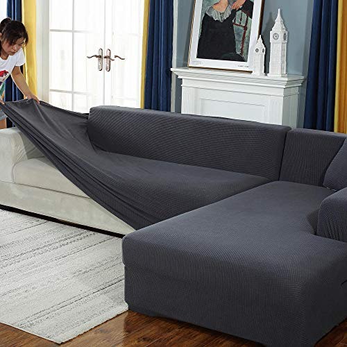 ABUKJM Strech Sofa Überzug Stretch Sofabezug Corn Grain Universal Sofabezug Staubschutz All-Inclusive Stretch Sofabezug Dunkelgrau 4 Sitzplätze 235~300Cm