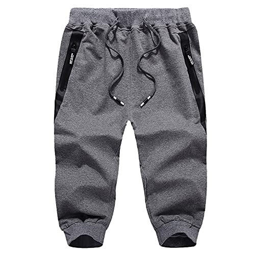 BUKINIE Herren Baumwolle Casual Shorts 3/4 Jogger Capri Hose mit Reißverschlusstaschen Slim Fit Training Laufen Workout Capri Jogger, Dunkelgrau-b, L