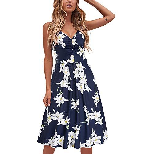 Eduavar Womens Sun Dresses,Womens Fashion Halter Solid Color O-Neck Summer Casual Sleeveless Ruched Mini Tank Vest Dress