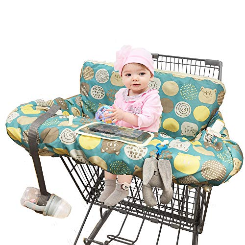 Shopping Cart Covers for Baby Girl, Large High Chair Cover with Cell Phone Holder for Toddler boy Girl, Grocery Cart Cover, Padded(Polka Cute)