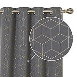 Deconovo cortinas salon opacas diseño plateadas para habitación con ojales 2 piezas 168x229cm gris claro