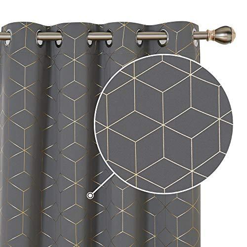 Deconovo Verdunklungsgardine Lärmschutzvorhang Blickdicht Vorhang Ösen Gold Raute 160x132 cm Hellgrau 2er Set