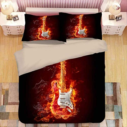 WGLG 3d Printing Flame Guitar Bedding Home Textiles King Size Bedding Set Duvet Cover And Pillowcase