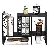 OROPY Verstellbarer Schreibtischregal, kleines Bücherregal, Tisch-Organizer, Multifunktionär und Freistehend zum Aufstellen auf Schreibtisch/in Büro, Wohnzimmer, Schlafzimmer-Schwarz