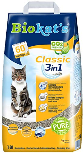 Biokat s Classic 3 in 1 lettiera per gatti senza profumo – lettiera per gatti di alta qualità con 3 diverse dimensioni di grano.