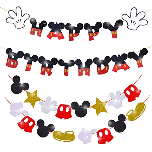 Mickey Mouse Party Supplies Kids Birthday Decoration Mickey Banner and Garland for Baby Shower Mickey Mouse Theme Party Favor 2 PCS Mickey Birthday Decorations