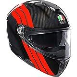 AGV Sportmodular Stripes Helmet, Carbon/Red, Size: LG
