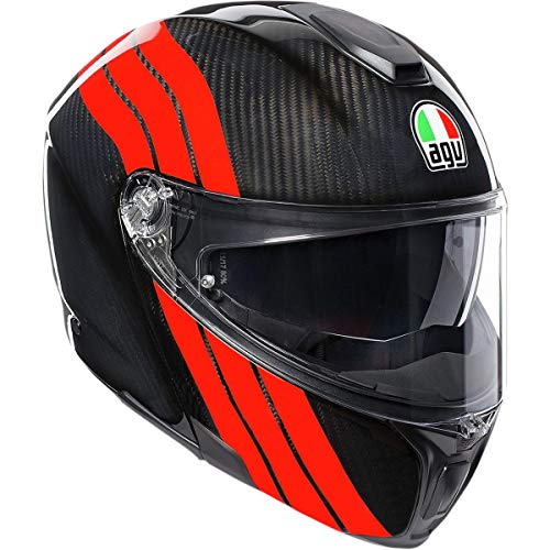 AGV Unisex-Adult Flip-Up Sport Modular Motorcycle Helmet Black/Red Medium