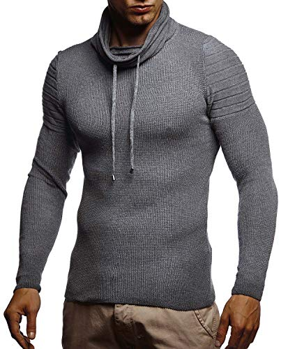 Leif Nelson Herren-Strickpullover Woll-Pullover mit Rollkragen Moderner Pullover Sweatshirt LN20747; M; Anthrazit