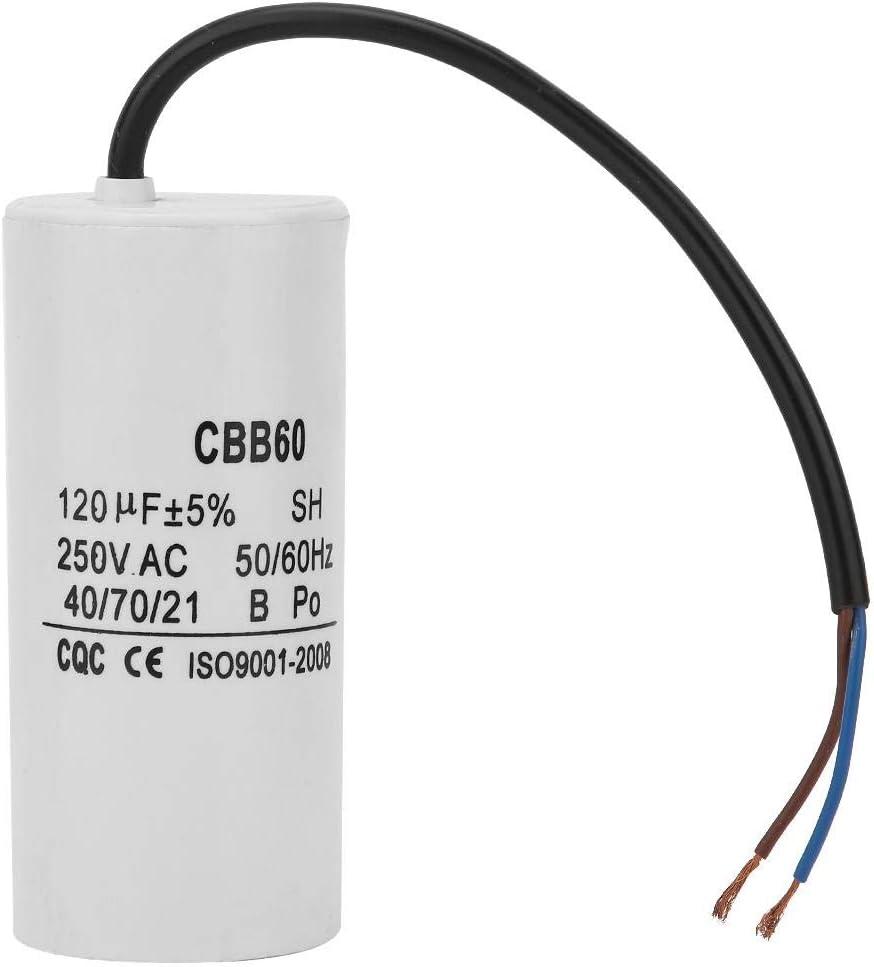 CBB60 Run Capacitor 250V AC 120uF 50/60Hz with Wire Lead Run Rou