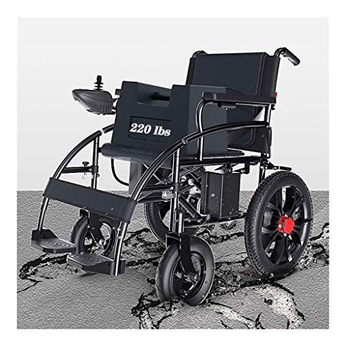 BXZ Silla de ruedas Eléctrica Silla de ruedas Plegable Eléctrica Silla de ruedas Ligero Anciano Discapacitado Cuatro ruedas Automático Inteligente Potente Motor doble,Control de la mano izquierda