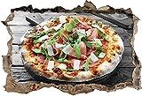KAIASH Pegatinas de Pared Pizza de prosciutto con rúcula y parmesano en una Mesa de Madera rústica Detalle de Apertura de Pared en Apariencia 3D Adhesivo de Pared decoración de Pared 92x62cm