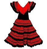 Vestido Flamenco Disfraz Sevillana, Traje de Andaluza la Señorita, Carnaval, Bailar Flamenca para Niñas y Mujer- con Lunares Negros y Blancos (Negro, 8 Años)
