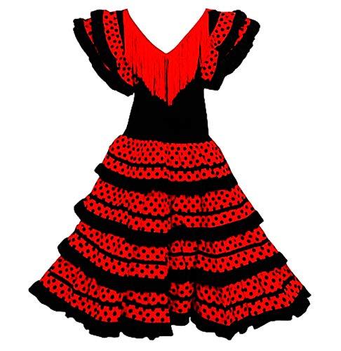 Vestido Flamenco Disfraz Sevillana, Traje de Andaluza la Señorita, Carnaval, Bailar Flamenca para Niñas y Mujer- con Lunares Negros y Blancos (Negro, 2 Años)