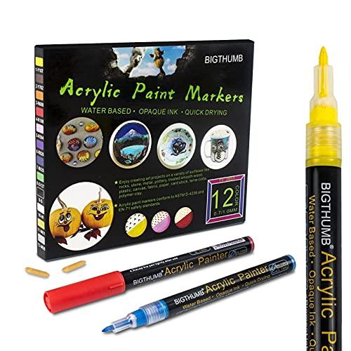Rotuladores de pintura acrílica profesional de 12 colores, 1mm, dibujar en cualquier superficie lisa, para vidrio, piedras, cuero, tela, vasos, plástico, versátil,fácil de usar