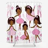 Rosa Ballett-Duschvorhang, süßes Afrika-Mädchen, Ballerina, Tänzerin, Gymnastik, Kinderzimmer, Badezimmer, Stoff, wasserdicht, für Badewanne, 183 x 183 cm, inklusive 12 Stück Kunststoff-Duschhaken