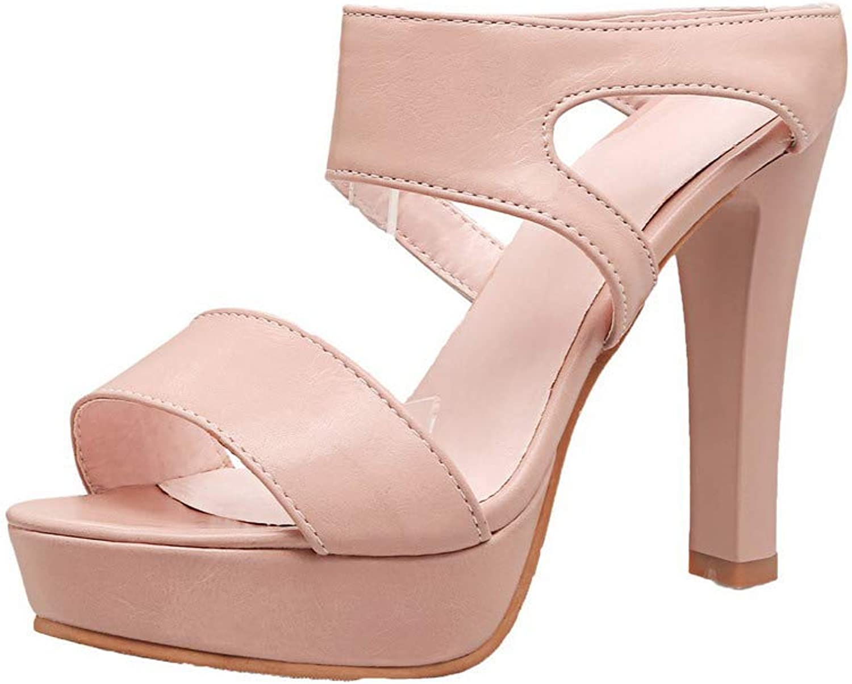 WeenFashion Women's Pu Open-Toe High-Heels Pull-On Solid Sandals, AMGLX010204