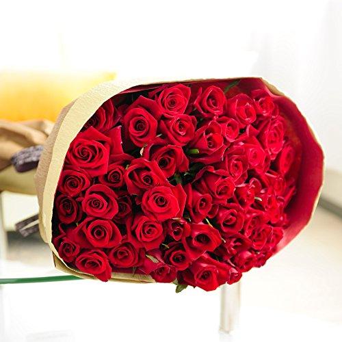 花束・ブーケ 赤バラ50本【ビジネスフラワー】<開店・開院祝い 誕生日プレゼント 長寿祝いなど各種お祝いにおすすめ>