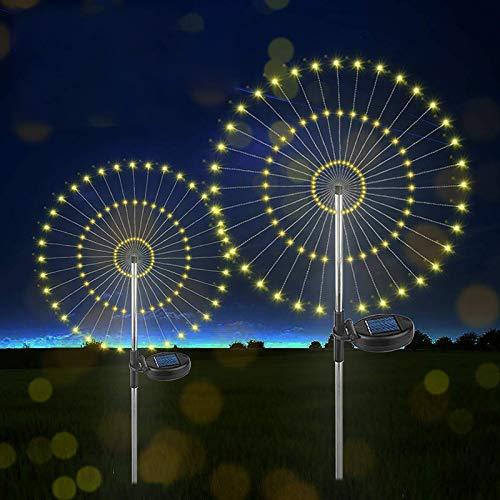 Solarleuchten Garten Deko - 2 Stück 150 LED Solar Feuerwerk Licht LED Solarleuchten Wasserdicht Gartenleuchten für Außen, Garten,Balkon,Blumenkästen und Terrasse Dekoration (Warmweiß)