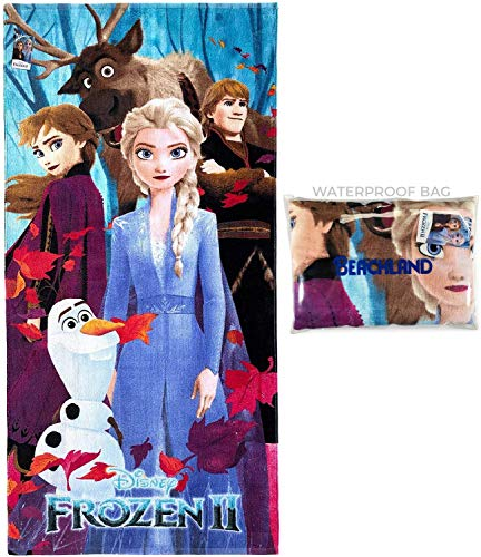 Disney Frozen 2 Beach Towel 28 x 58 inch 100% Cotton Kids Pool Towel, Travel, Camping, Lake (Frozen 2, One Towel)
