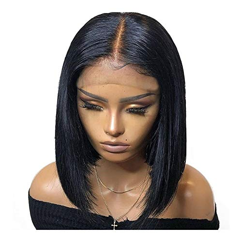 LEZDPP Short Lace Frontal Human Hair Wig Brazilian Straight Bob Lace Frontal Wig Pre-Collected Baby Hair Density Hairpieces (Size : 14 inches)