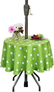 """Eternal Beauty 52"""" Round Tablecloth Spillproof Polyester Picnic Tablecloths with Zipper Umbrella Hole for Party Outdoor Table (Green Polka Dot)"""
