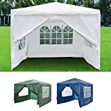 Heavy Duty, Party Tent Outdoor Garden Gazebo, 3x3m Gazebo with 4 Superior Side Walls, Outdoor Patio Cocktail Festival Party Wedding Tent - Blue, Metal Frame