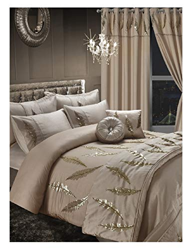 Excellent Leafy Design Embroidery Gold Duvet Set, 100% Polyester Duvet Cover Bedding Set with Pillow Cases - Gold, Single Size