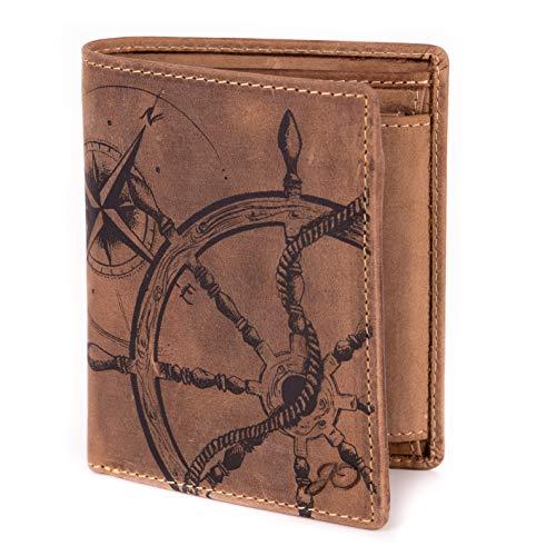 Geldbörse Leder Braun Anker Kompass Motiv Maritim - Geldbeutel naturbelassen Hochformat 10 x 12,5 x 2,5 cm JOriginal
