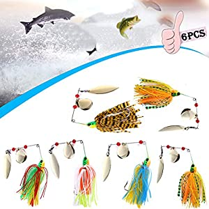 6Pcs Fishing Lures Spinnerbait, Spinner Baits for Bass Fishing, Fishing Hard Spinner Bait, Fishing Hard Metal Spinner Bait Kit Jig Lure for Bass Pike Trout Salmon Freshwater Saltwater Fishing Colorful