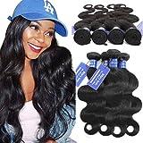 Bfary Hair Peruvian Virgin Body Wave Human Hair 4 Bundles(20'' 20'' 22'' 22'',Natural Color), 8A 100% Unprocessed Body Wave Hair Extension Weft for Black Women, Peruvian Cheap Hair Bundles