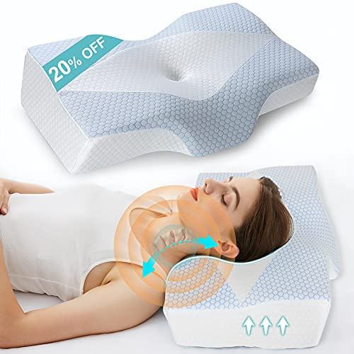 Cervical Memory Foam Pillow for Neck Pain Relief, Mkicesky Ergonomic Contour Pillow for Sleeping, Orthopedic Neck Support Pillow with Cooling Pillowcase for Side Back and Stomach Sleepers
