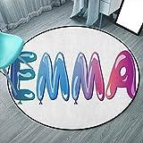 Emma Indoor Modern Area Alfombra Redonda 6'3' Redonda, Multicolor, Femenina Nombre Diseño con Globos Adornados Ilustración Temática Femenina, Para Niños Dormitorios Alfombras (Redonda 190x190cm)