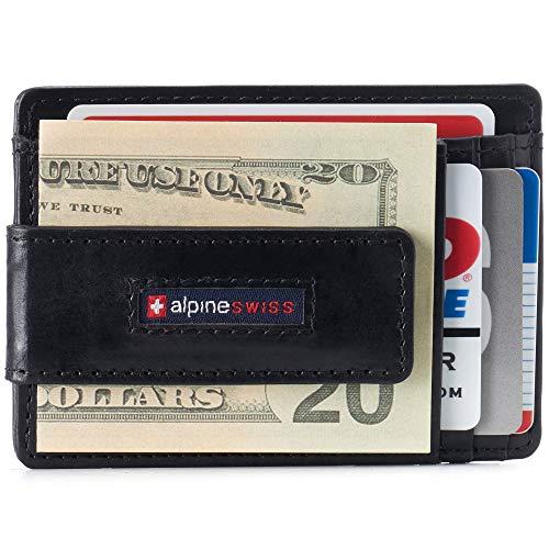 Alpine Swiss Harper Mens RFID Slim Front Pocket Wallet Magnetic Money Clip ID Card Holder Leather Black